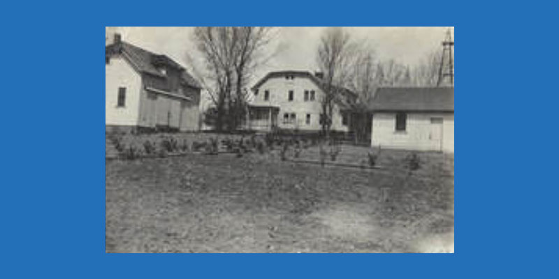 black and white photo of farm purchased for ndh
