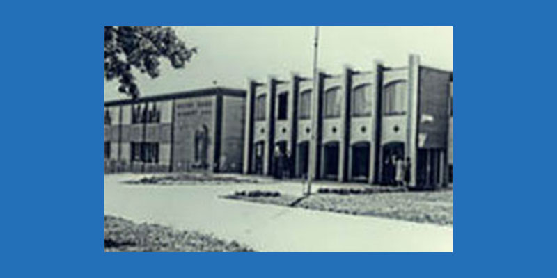 black and white photo of ndh building in 1974